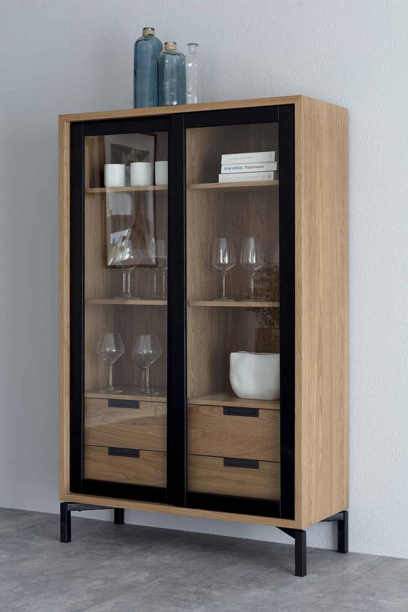 Interstil Apartment Glazen Vitrinekast - 100x40x160 - Eiken
