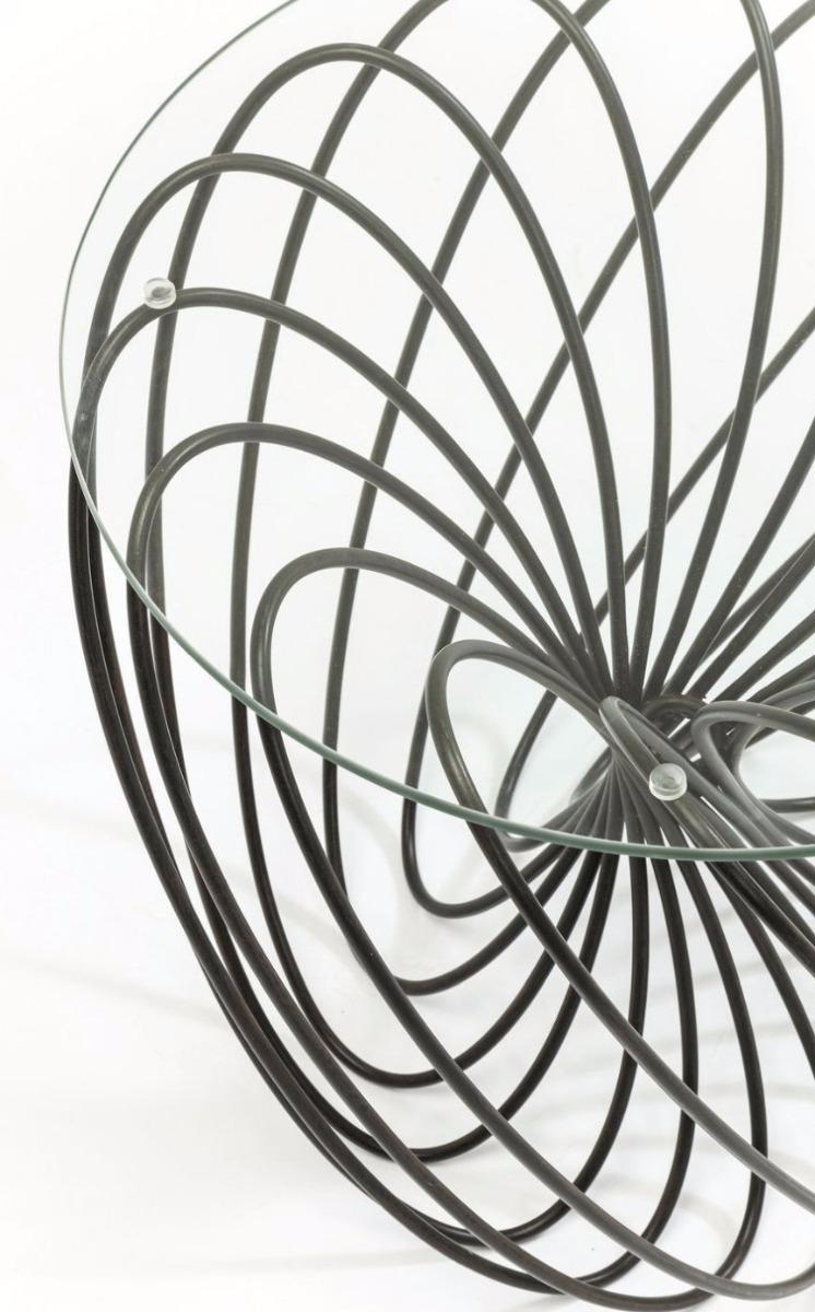 Kare Design Bijzettafel Wire BallØ45 X H45 Cm - Glas Zwart
