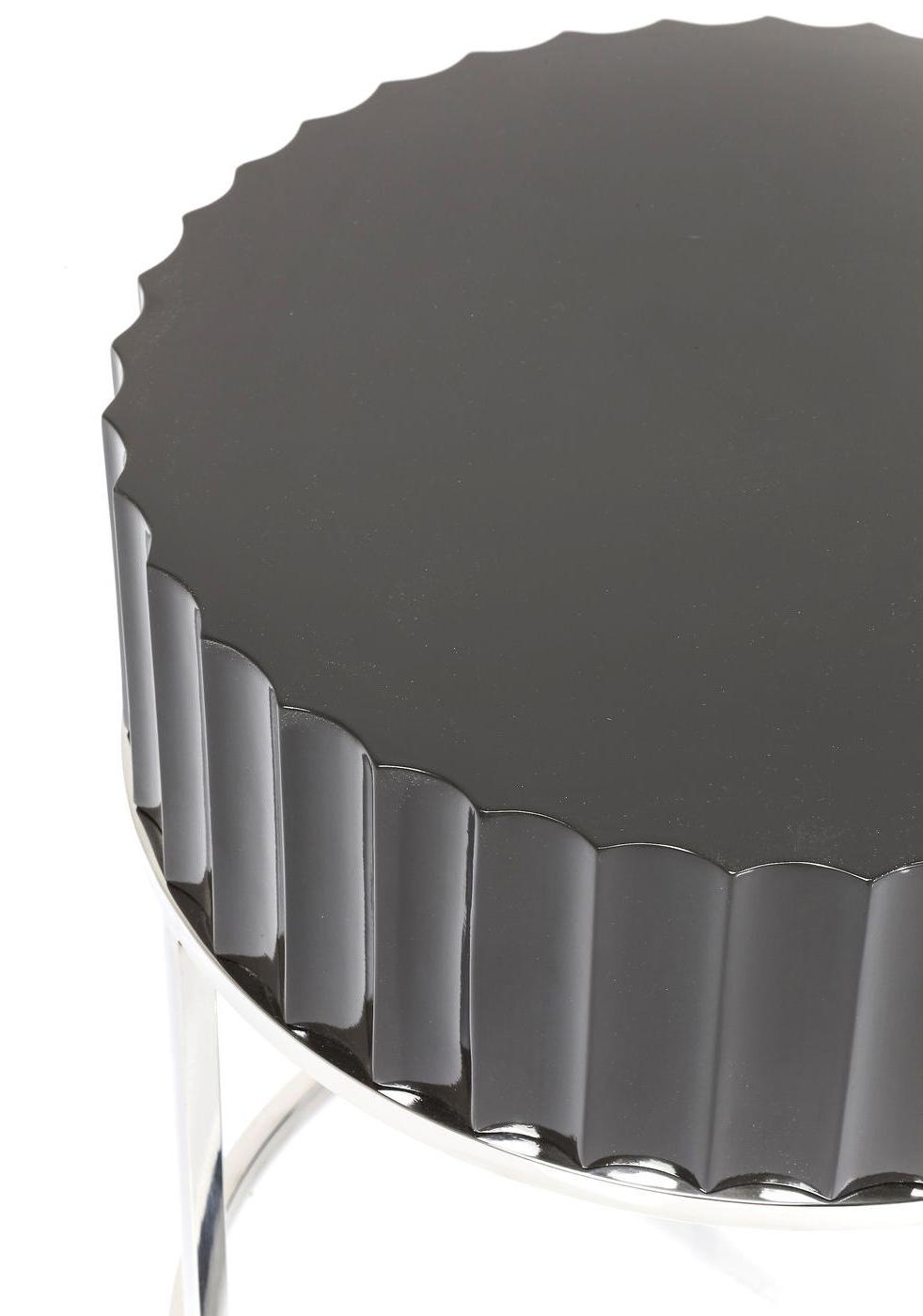 Kare Design Bijzettafel - Furioso -Ø50 X H55 Cm - Chroom - Zwart