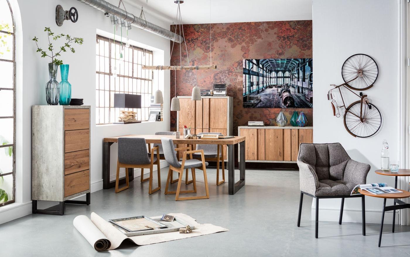 Kare Design Eettafel Seattle - L200 X B100 X H77 Cm - Metaal - Eiken Tafelblad