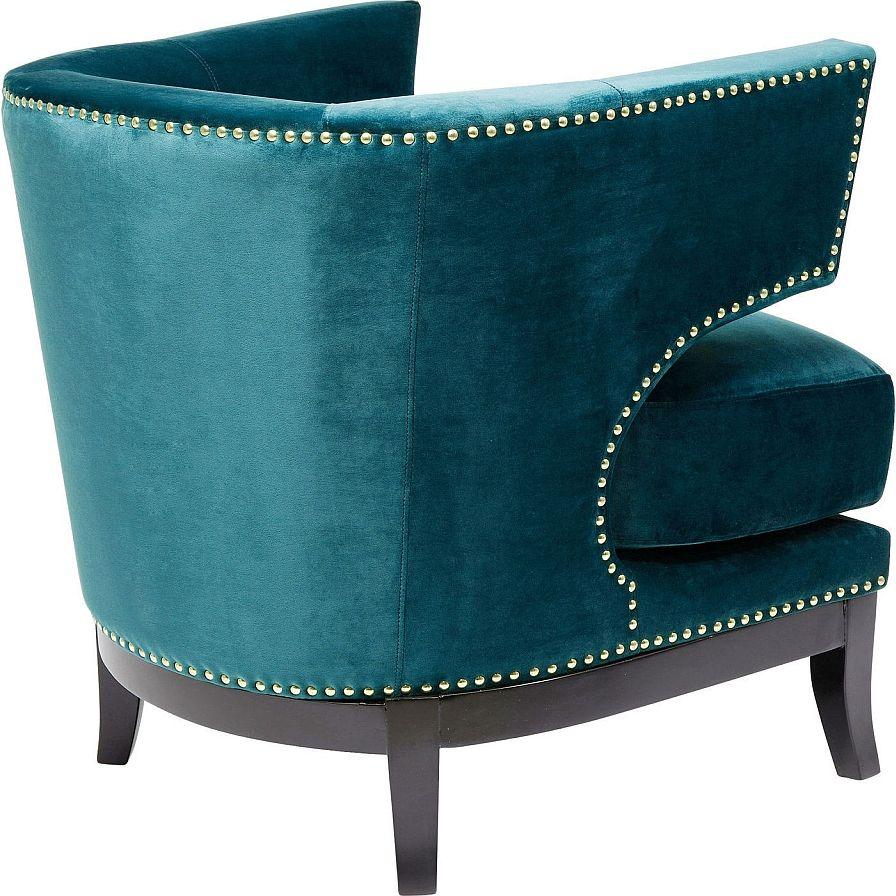 Kare Design - Art Deco Fauteuil - Blauw/Groen Fluweel