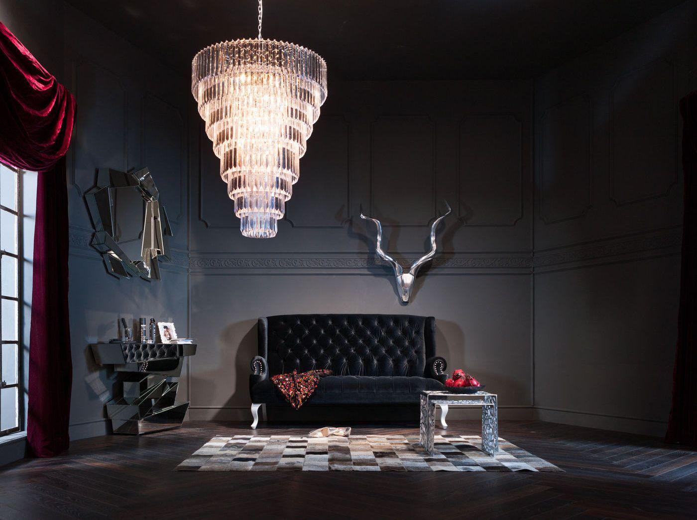 Kare Design Bank Barocco Black - Stof - Zwart