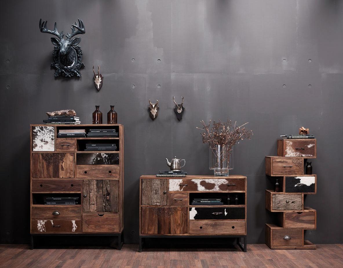 Design Kast Hout : Kare design kast rodeo 3 deurs 8 laden l100 x b30 x h138 cm