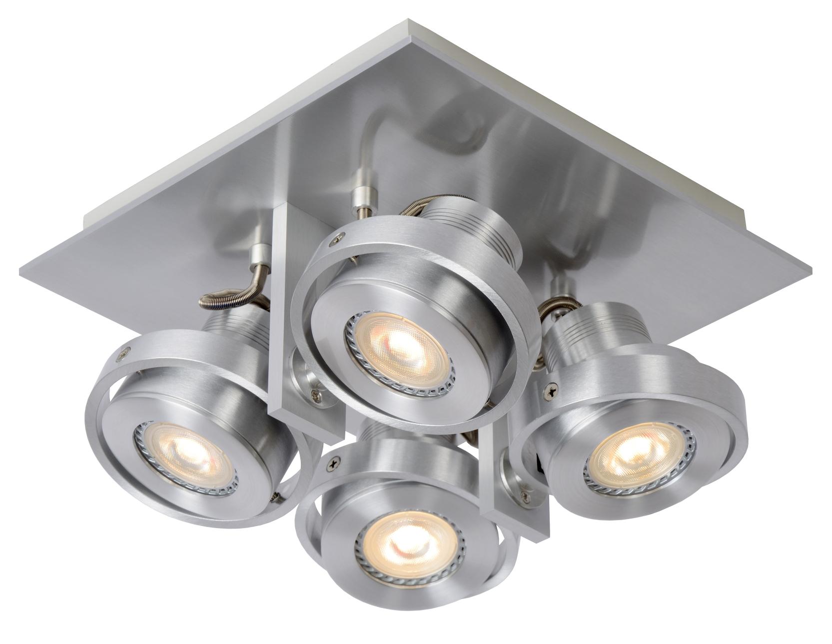 Lucide Plafondspot Landa 4-Lichts - Dimbare LED - Aluminium