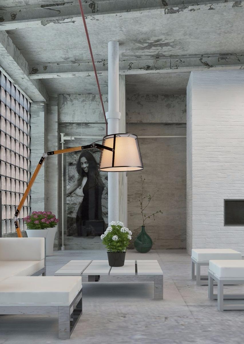 Lucide Verstelbare Vloerlamp Aldgate - Houten Poten - Zwarte Metalen Lampenkap