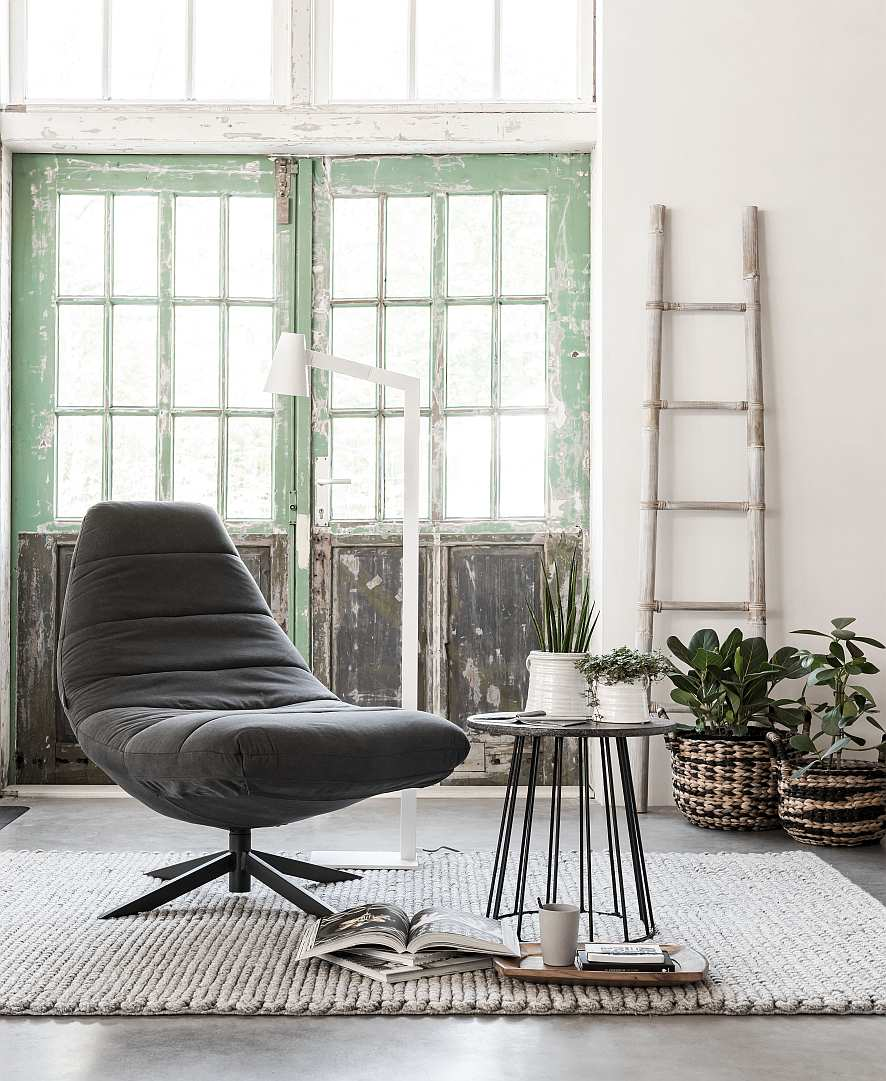 Must Living Lounge Fauteuil Blaze - Stone Washed Antraciet Katoen - Zwarte Kruispoot