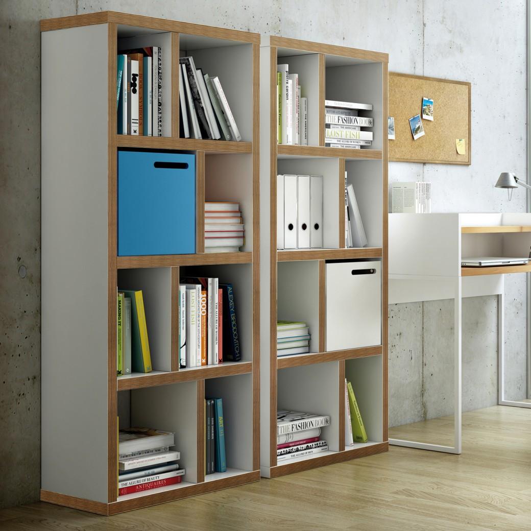 TemaHome Boekenkast Berlin 4 Levels - L70 X B34 X H159 Cm - Mat Wit Multiplex