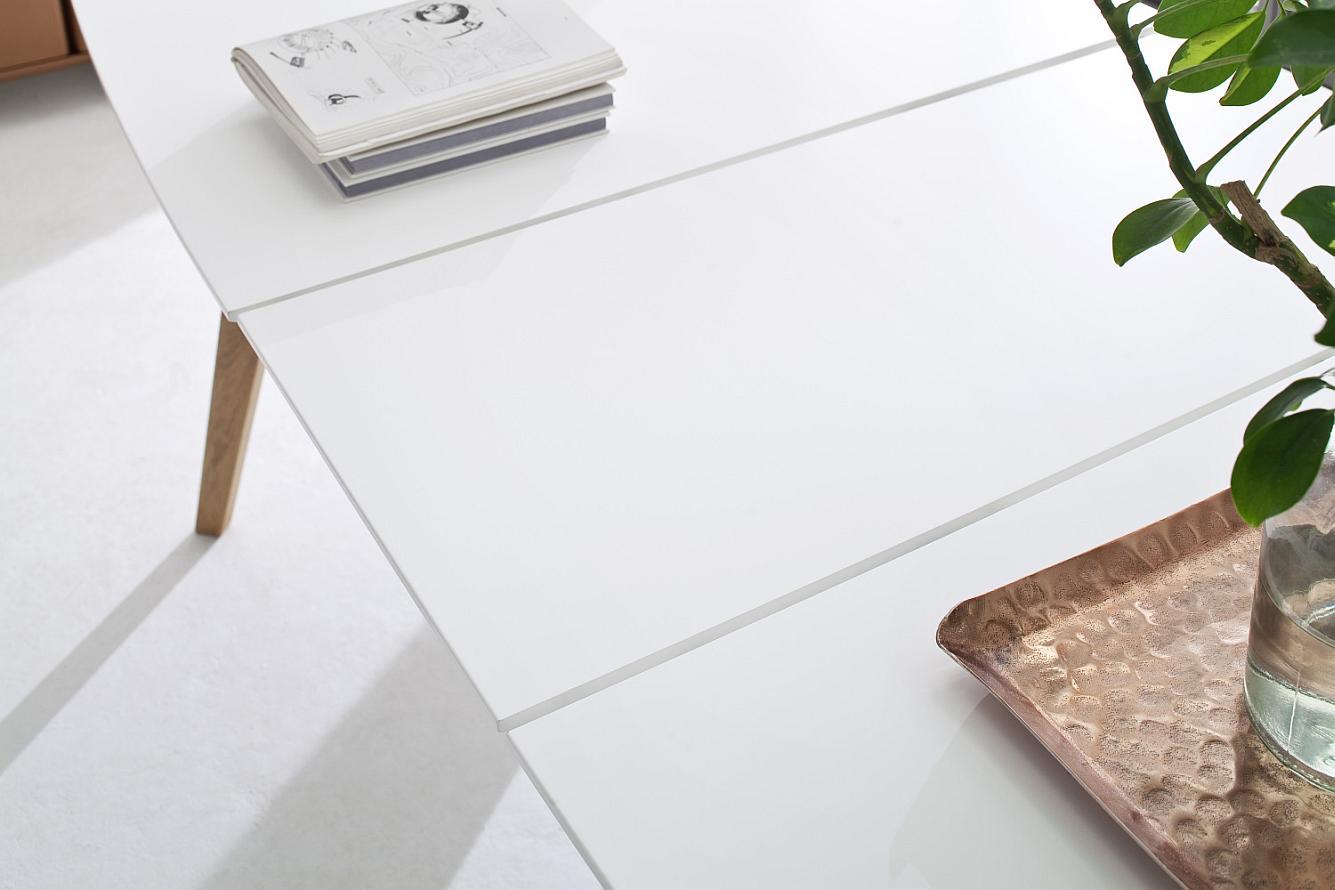 Tenzo Uitschuifbare Eettafel Bess - 160/205x95x75 - Wit Tafelblad - Eiken Poten